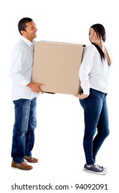 Couple moving house and carrying boxes - isolated over a white background