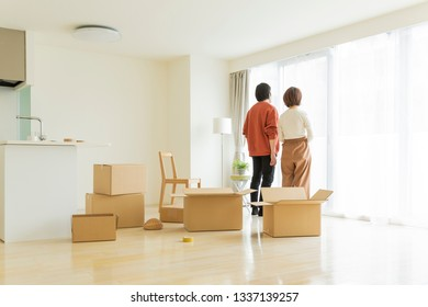 Couple in moving work