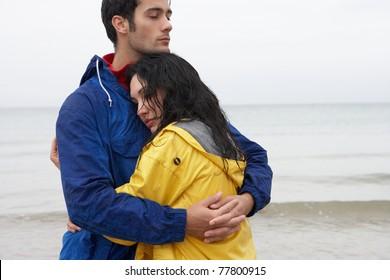 Couple on beach in love