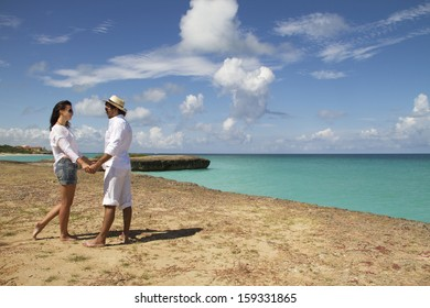 Couple on the beach of sea, love story