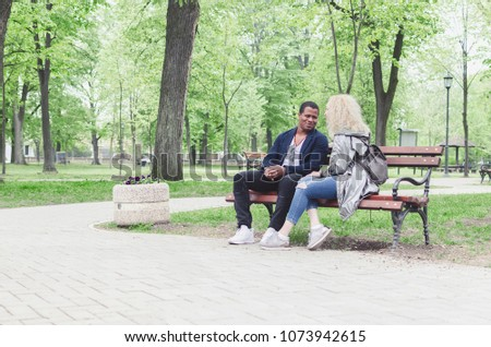Couple On Bench Two Lovers Sitting Stock Photo Edit Now 1073942615