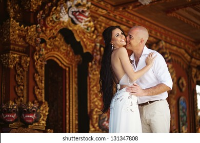 Couple on exotic wedding in hindu temple, bali, indonesia