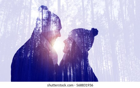 Couple on forest background, double exposure
