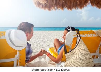 Couple on holidays at Caribbean Sea