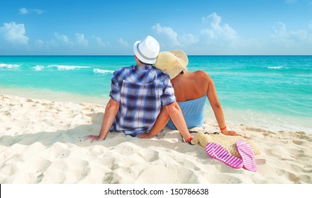 Couple on holidays at the Caribbean Sea