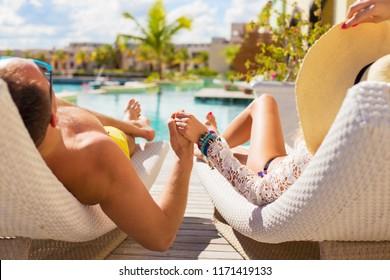 Couple on honeymoon in luxury hotel