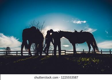 Couple on Horse Farm Silhouette