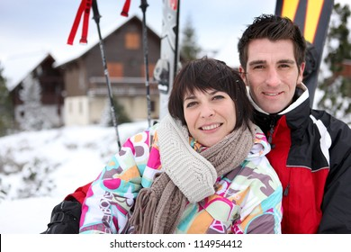 Couple on a skiing vacation