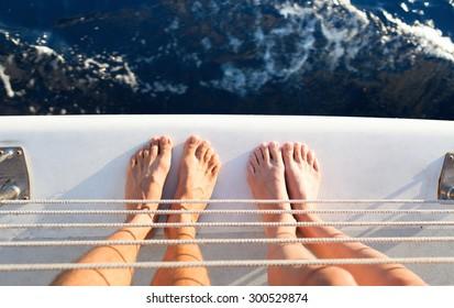 Couple on a yacht.
