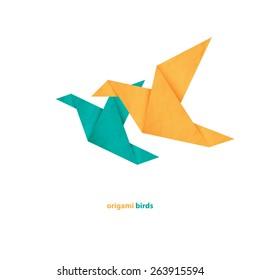 couple of origami birds icons isolated on white background