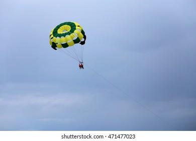 couple parasailing