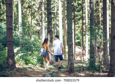 Couple in pine forest