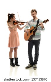 Couple playing music with violin and guitar isolated on a white background