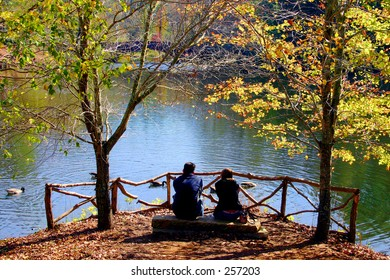 couple at the pond