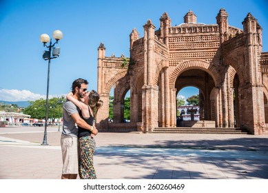 Couple Portrait at historic monument. Traveling America, Latin America Culture.