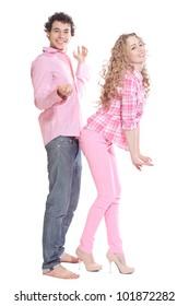 couple posing on white background