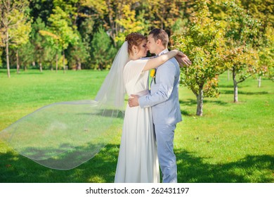 The couple posing in their wedding day outdoors.Gentle kiss on their wedding day.delicate bridal couple.Beautiful couple in love