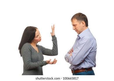 Couple in quarrel. Wife scolding her husband, isolated on white background