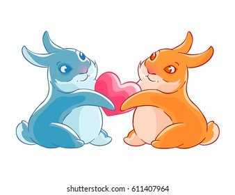Couple of rabbits holding heart in their paws.Illustration isolated on white background. Card. T-shirt print.
