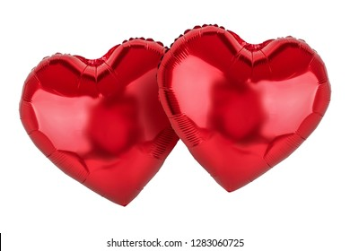 Couple of red balloons. Hearts. Symbol of love. Valentine's Day theme.