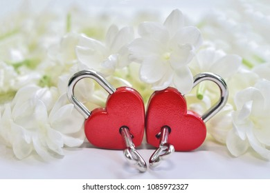 Couple red heart lock with jasmine flower background