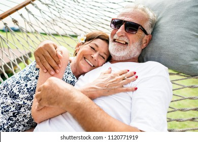 Couple relaxing on a hammock