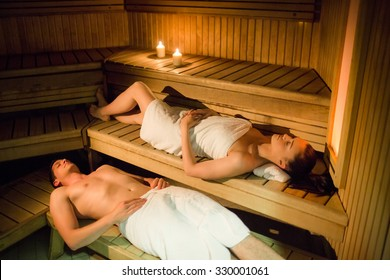 Couple relaxing in the sauna at the spa
