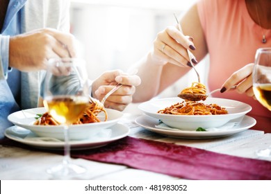 Couple in a restaurant. Close up concept.