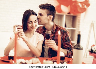 Couple Romantic Dinner At Valentine's Day. Love Each Other. Sweetheart's Holiday Concept. Beautiful Kiss. Feelings Showing. Celebrating Date. Young And Handsome. Happy Relationship.