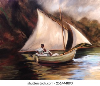 couple sailboat vintage painting romance nostalgic vintage painting