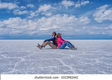 Couple at Salar de Uyuni in Bolivia