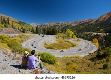 Couple at San Juan Skyway Scenic Byway Colorado USA