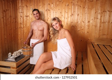 couple in a sauna - wellness spa