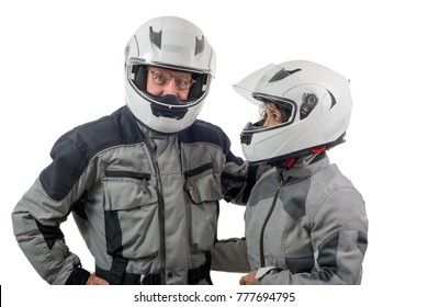 a couple senior riders with helmet isolated on the white background