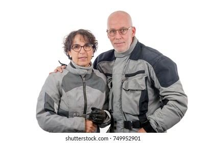 a couple senior riders  isolated on the white background