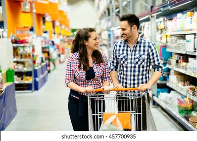 Couple shopping together  in supermarket
