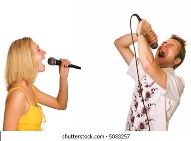 Couple singing karaoke isolated on white background