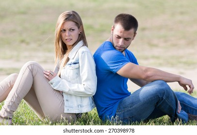 Couple sitting back with problems boyfriends