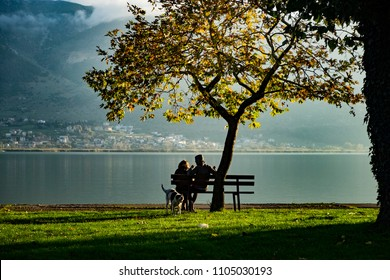 A couple is sitting on the bench under the tree near to the lake enjoying sunrise and a beautiful view on the small mountain town, a dog plays behind them.