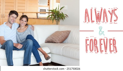 Couple sitting on a sofa against always and forever