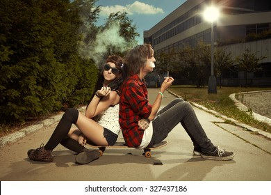 Couple with skateboard