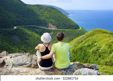 Couple at Skyline Trail in Nova Scotia, Canada