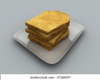 Couple slices bread in a plate