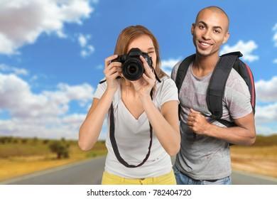 Couple smile tourist