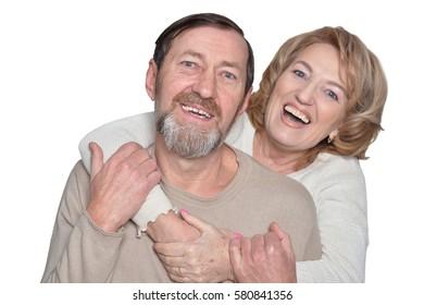 Couple smiles seniors