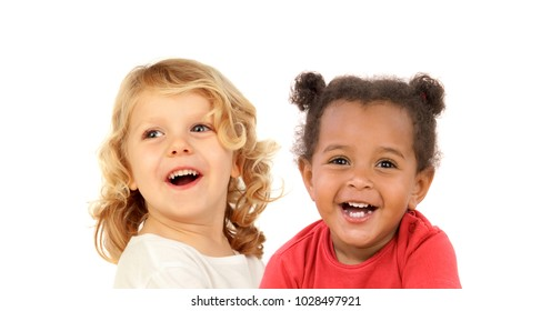 Couple of smiling children isolated on a white background