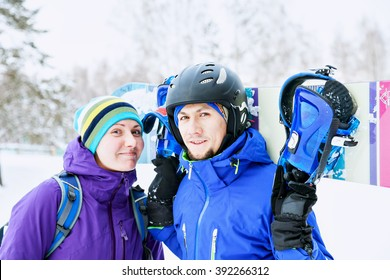 couple snowboarders rejoice and be glad