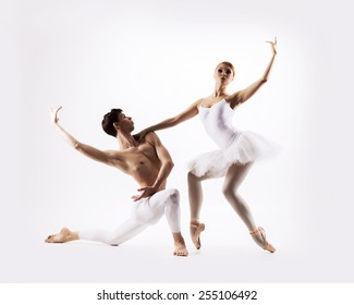 Couple of sporty ballet dancers in a classic performance