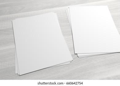 Couple of stacks of flyers or leaflets 3D illustrationon mock-up on wood