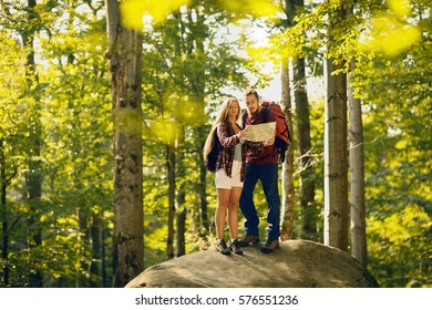 Couple standing on a rock in the forest and looking on a map